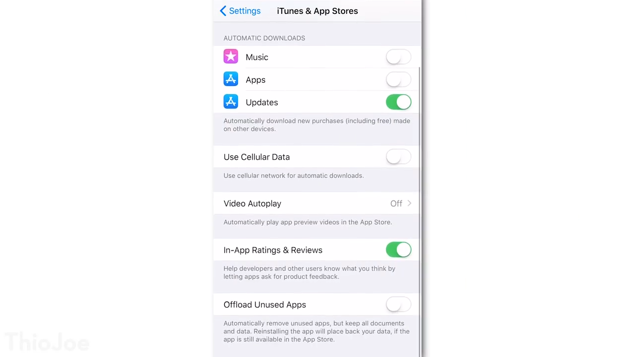 iTunes & Appstore setting